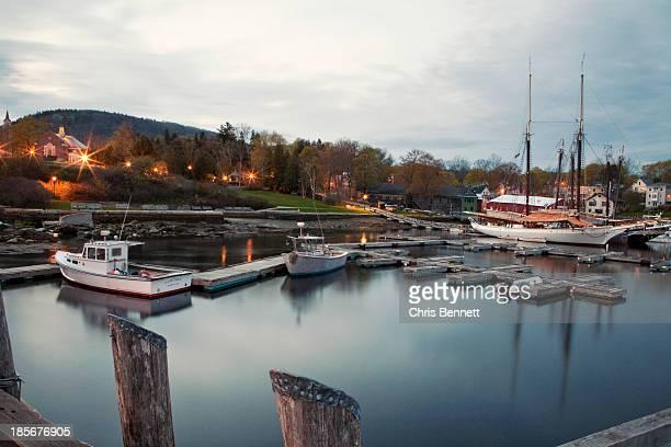 Camden Harbor, Maine at twighlight.