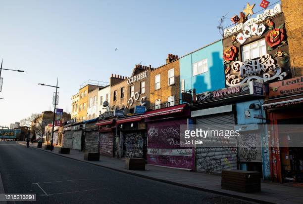 Camden High Street Shops on March 27, 2020 in Camden Town, London, England. British Prime Minister, Boris Johnson, announced strict lockdown measures...
