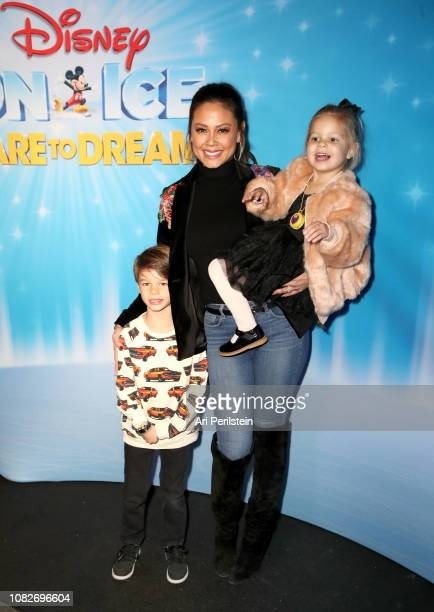 Camden Lachey Vanessa Lachey and Brooklyn Lachey attend Disney On Ice Presents Dare to Dream Celebrity Skating Party at Staples Center on December 14...