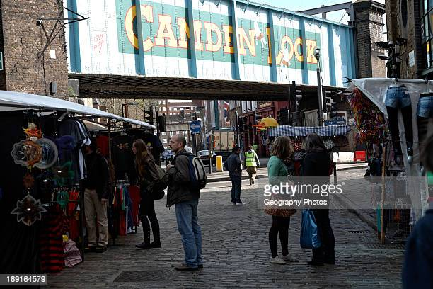 Camden Lock painted railway bridge London