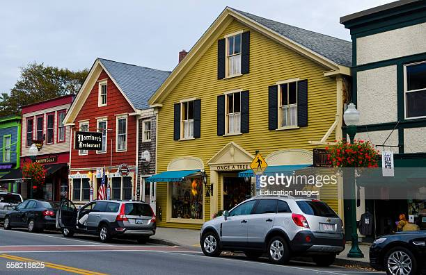 Camden Maine village downtown stores in center of town in New England