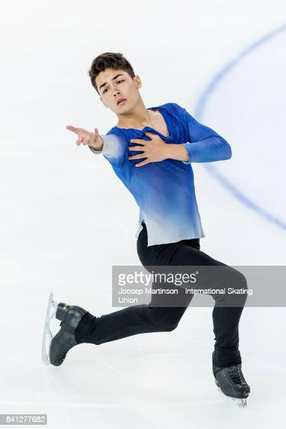 Camden Pulkinen of the United States competes in the Junior Men Short Program on day 1 of the ISU Junior Grand Prix of Figure Skating at Eis Arena...