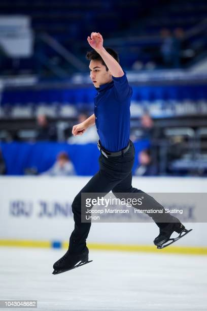 Camden Pulkinen of the United States competes in the Junior Men's Free Skating during the ISU Junior Grand Prix of Figure Skating at Ostravar Arena...