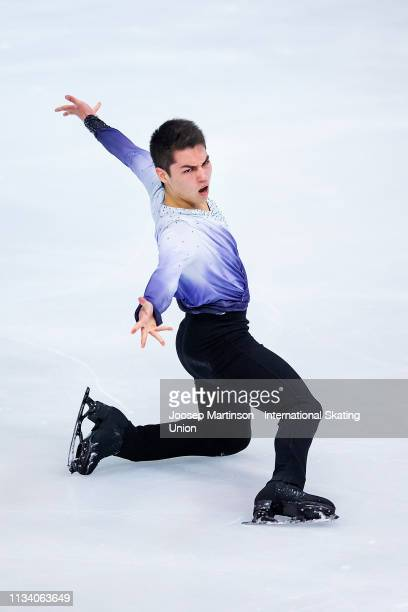 Camden Pulkinen of the United States competes in the Junior Men's Short Program during day 1 of the ISU World Junior Figure Skating Championships...