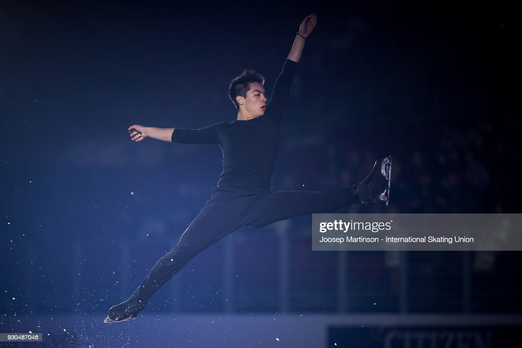 Camden Pulkinen of the United States performs in the Gala Exhibition during the World Junior Figure Skating Championships at Arena Armeec on March 11, 2018 in Sofia, Bulgaria.
