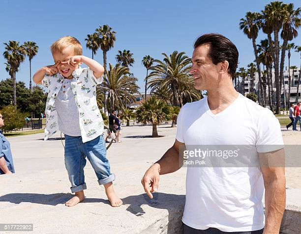 Camden Quinn Schaech and his father actor Johnathon Schaech spend the day at the beach on March 26 2016 in Santa Monica California