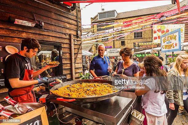 Camden Town, food stalls near Camden Lock Market, paella