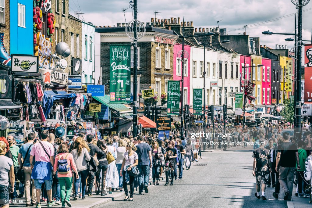 Camden Town, people and typical shops in Camden High street : Stock Photo