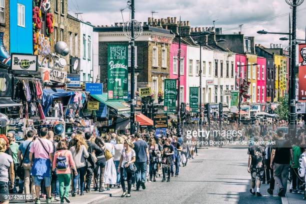 camden town, people and typical shops in camden high street - cultures stock pictures, royalty-free photos & images
