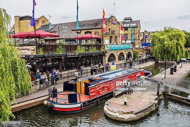 Camden Town, typical boat near Camden Lock (Hampstead Road Locks), the twin manually operated lock on the Regent's Canal, on the left the Camden Lock Market