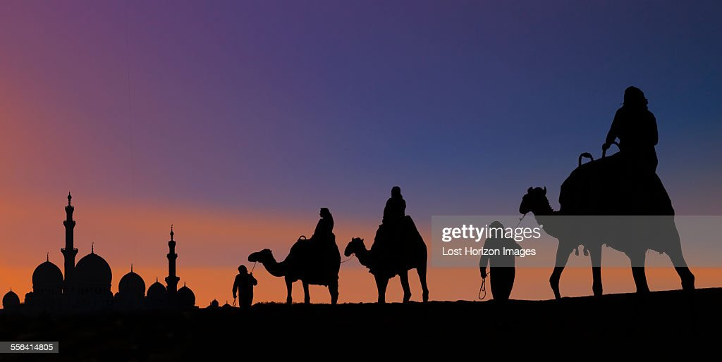 Camel caravan arriving at mosque, Abu Dhabi, United Arab Emirates : Stock Photo