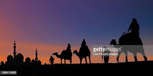 camel caravan arriving at mosque, abu dhabi, united arab emirates - uae heritage stock photos and pictures
