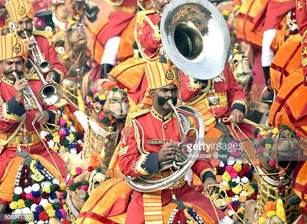 Camel Contingent march down during the Republic Day Parade at Rajpath, on January 26, 2016 in New Delhi, India. French President Francois Hollande...