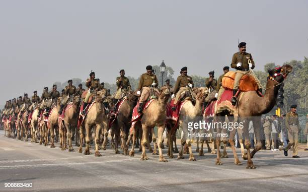 BSF camel contingent participates in the rehearsals for Republic Day celebrations 2018 at Rajpath on January 18 2018 in New Delhi India
