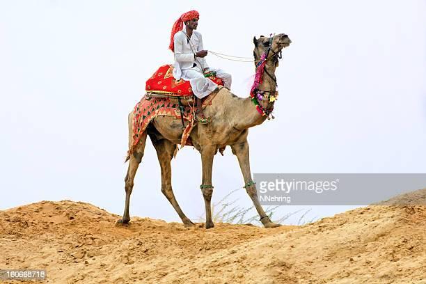 camel rider in desert