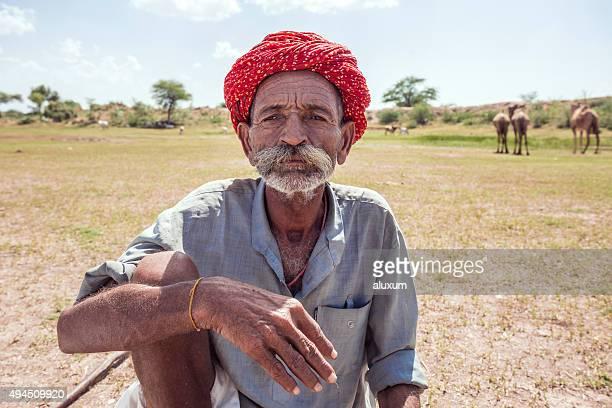 Camel shepherd in the Thar desert Rajasthan India