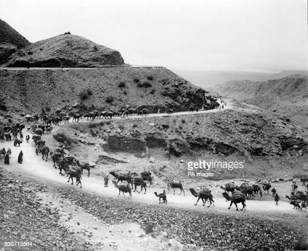 A camel train passes through the Khyber Pass on the frontier between Afghanistan and British India