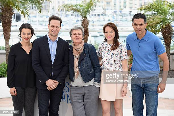 Camelia Jordana Josh Charles Pascale Ferran Anais Demoustier and Roschdy Zem attends the Bird People Photocall at the 67th Annual Cannes Film...
