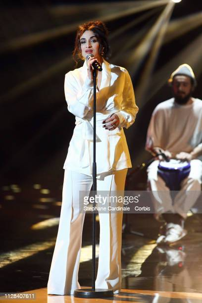 Camelia Jordana performs during the 34th 'Les Victoires De La Musique' Show at La Seine Musicale on February 08 2019 in BoulogneBillancourt France