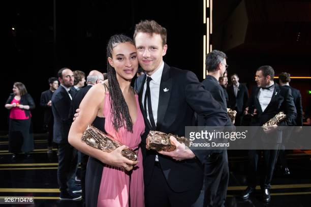Camelia Jordana with the Cesar award for Best Female Newcomer for 'Le Brio' and Antoine Reinartz with the Cesar award for Best Supporting Actor for...
