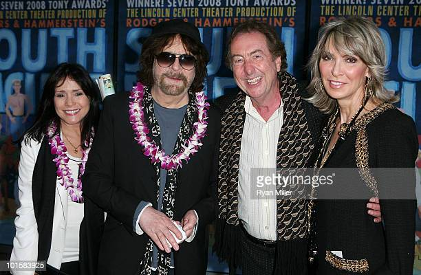 Camelia Kath Jeff Lynne actor Eric Idle and wife Tania Kosevich Idle pose during the arrivals for the opening night performance of South Pacific at...