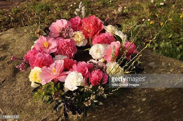 Camelia wreath displayed on rock