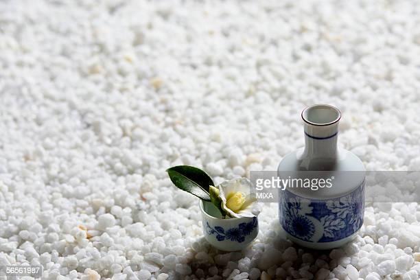 camellia in a sake cup - wabi sabi - fotografias e filmes do acervo
