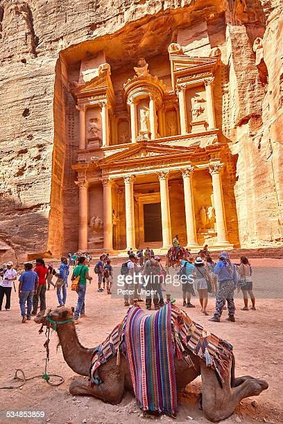Camels and tourists at the Treasury of Petra