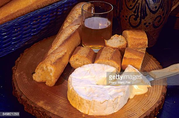 camembert, baguette, cidre - calvados stock pictures, royalty-free photos & images