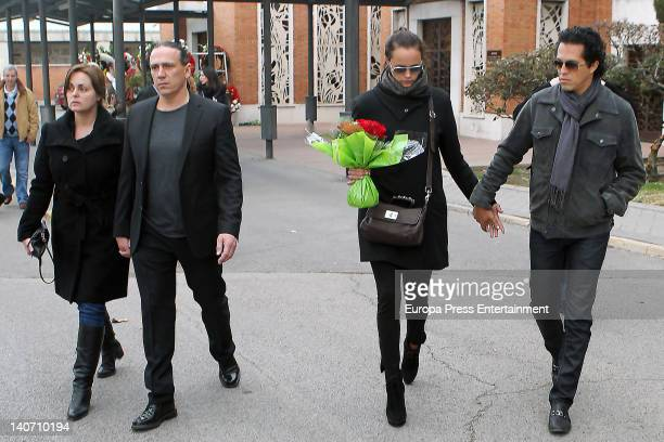 Camen Morales Luis Guerra Shaila Durcal and Dorio Ferreira attend the funeral for Carmen Barretto Valdes who died at 97 years old at La Almudena...