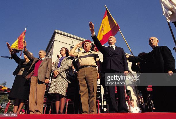 Camen Polo Franco Camilo Menendez and Blas Pinar Celebration of the aniversary of the Francisco Franco´s dead