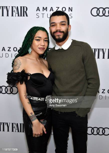 Cameo Adele and Justice Smith attend The Vanity Fair x Amazon Studios 2020 Awards Season Celebration at San Vicente Bungalows on January 04 2020 in...