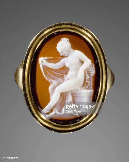 Cameo set into a ring [Hermaphrodite] Possibly by Protarchos gem 150 100 BC ring modern Sardonyx set in modern gold ring Greatest extent 18 cm