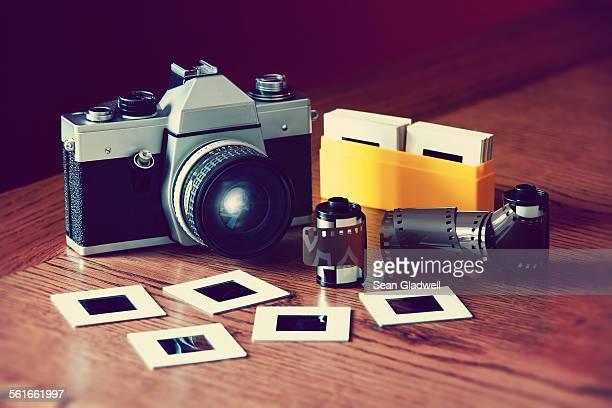 SLR camera and film slides