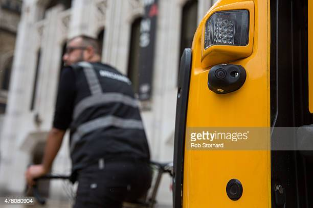 A camera and sensor are seen on the side of a LGV in a demonstration of safety equipment during a London Corporation Road Danger Reduction Day at...