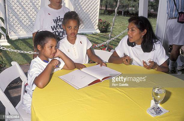 Camera Ashe guest and Jeanne Ashe during Arthur Ashe AIDS Tennis Challenge ProCelebrity Tennis Match August 28 1994 at Flushing Meadow Park in New...