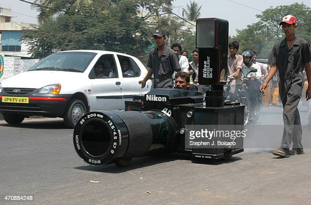 A camera car drives outside the Sudha Cars Museum He is a Guinness World Record holder for making the Largest Tricycle in the World