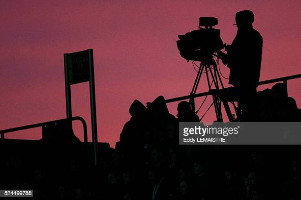 Camera crew during the French Ligue 1 soccer match between Lille and Paris Saint Germain