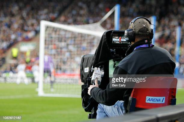 Camera crew during the Premier League match between Huddersfield Town and Liverpool FC at John Smith's Stadium on October 20 2018 in Huddersfield...