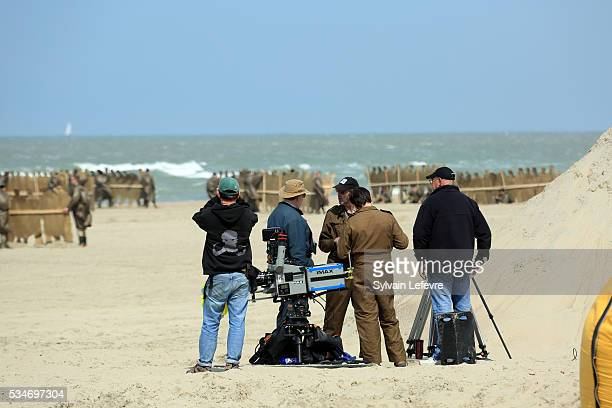 A camera crew on the beach on the set of Christopher Nolan's 'Dunkirk' on May 26 2016 in Dunkerque France
