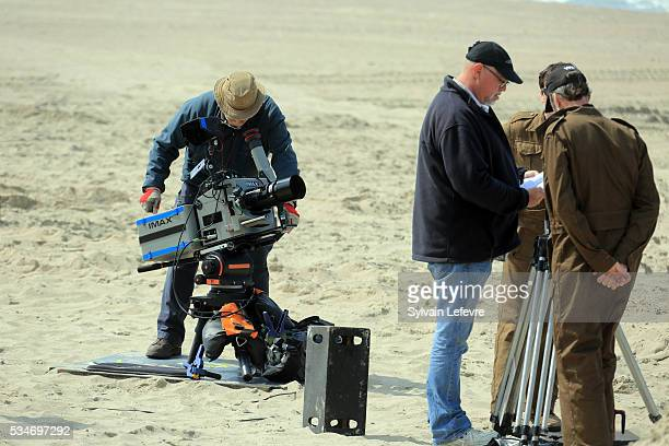 A camera crew set up on the beach on Christopher Nolan's 'Dunkirk' set on May 26 2016 in Dunkerque France