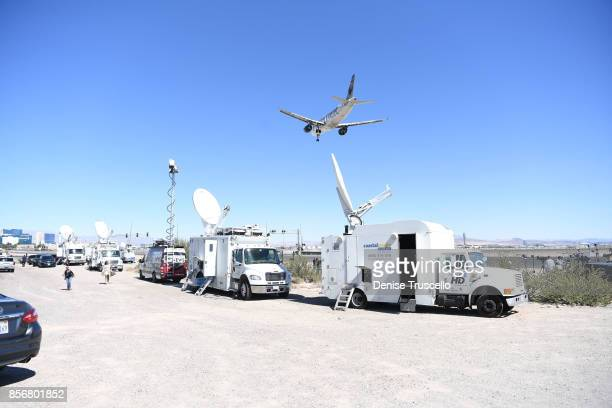 Camera crews set up on Las Vegas Boulevard following the Route 91 Harvest country music festival shooting October 2 2017 in Las Vegas Nevada Stephen...