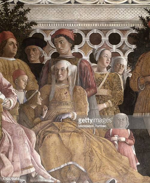 'Camera degli Sposi by Andrea Mantegna 14651474 15th Century fresco and dry tempera Italy Lombardy Mantua Ducal Palace Detail Portrait of Marchioness...