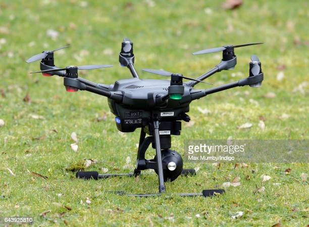 A camera equipped Police drone being flown as Catherine Duchess of Cambridge arrives for a visit to MIST a child and adolescent mental health project...