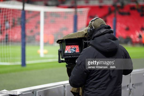 Camera filming during the Premier League match between Tottenham Hotspur and Watford FC at Wembley Stadium on January 30 2019 in London United Kingdom