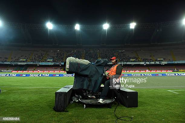 Camera films during the Serie A match between SSC Napoli and US Citta di Palermo at Stadio San Paolo on September 24, 2014 in Naples, Italy.