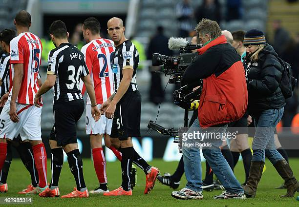 TV camera films players at full time after the Barclays Premier League match between Newcastle United and Stoke City at St James' Park on February 8...