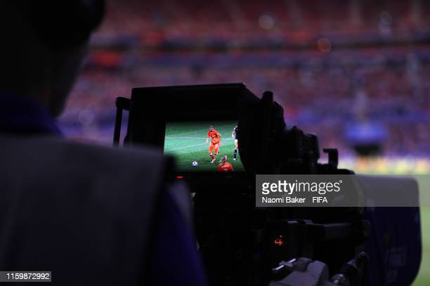 TV camera films the match during the 2019 FIFA Women's World Cup France Semi Final match between Netherlands and Sweden at Stade de Lyon on July 03...