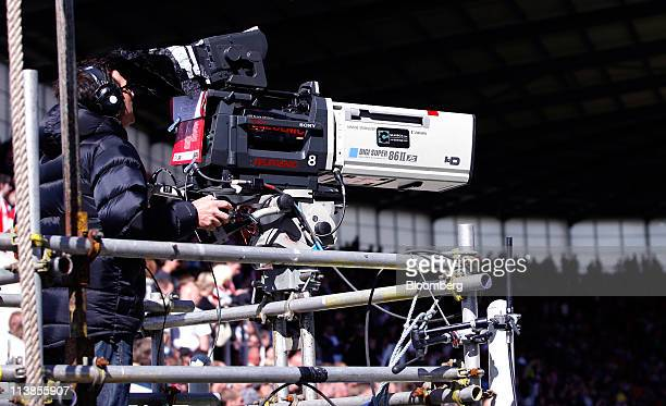 A camera for Sky Sports television broadcasts live and in high definition during a premier league soccer game at the Britannia Stadium in Stoke UK on...