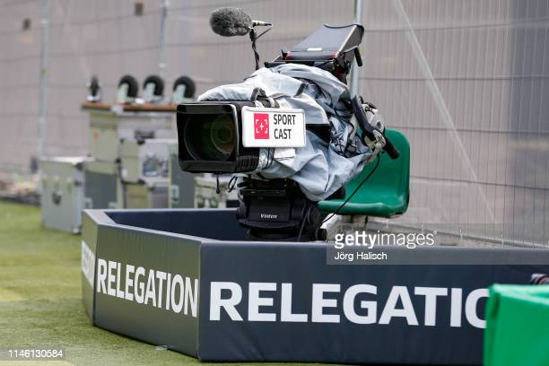 TV camera from Sport Cast during the Second Bundesliga Play Off first leg match between SV Wehen Wiesbaden and FC Ingolstadt at BRITAArena on May 24...